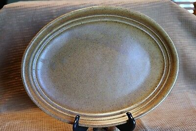 """Monmouth Pottery Stoneware - Maple Leaf MOJAVE BROWN 12"""" Oval Serving Platter"""