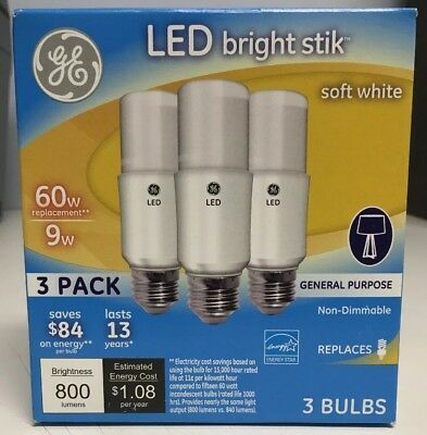 3 pack 63589 GE LED BRIGHT STIK Soft White 9W 60W replacement LIGHT BULBS NEW
