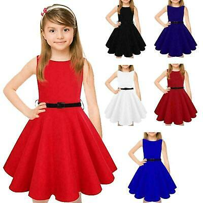 Girls Kids Belted Sleeveless Swing Skater Dress Round Neck Flared Frankie Party