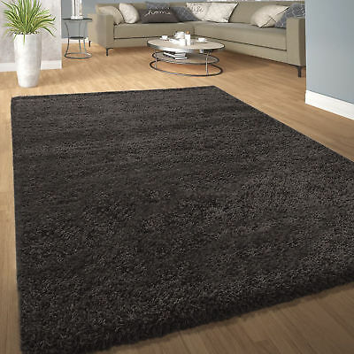 Soft Large X Small Thick Best Plain Shaggy Rug 5cm Pile Rugs DARK Black GREY