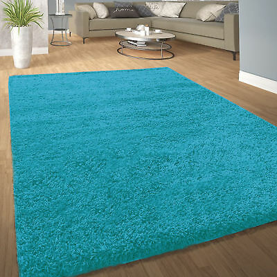 Soft Large X Small Thick Best Plain Shaggy Rug 5cm Pile Rugs DUCK EGG BLUE