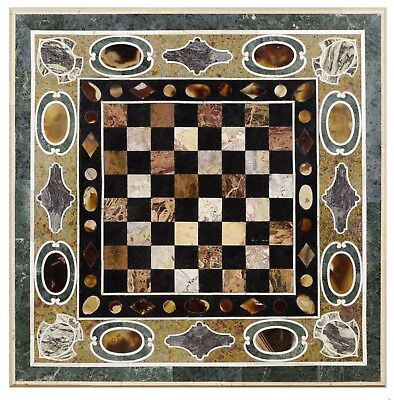 Pietra Dura (Hard Stones Marquetry) Table Top with Chess Board, 20th Century