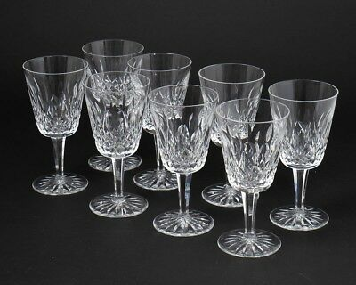 """Set of 8 Waterford Irish Crystal Lismore Water Goblet Glasses 6-7/8"""" Tall 8 oz"""