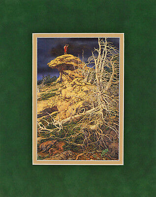 Prayer for the Wild Things by Bev Doolittle 8x10 double matted green suede mat