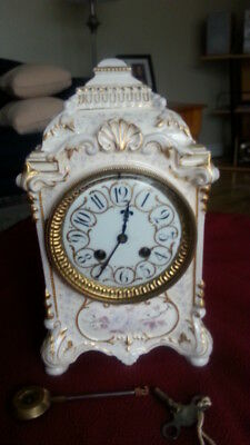 EARLY ANTIQUE FRENCH PORCELAIN CHIMING MANTLE CLOCK c 1854