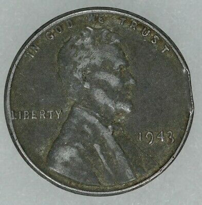 1943 Lincoln Wheat Steel Cent 1C Mint Error Clipped Planchet (8037)