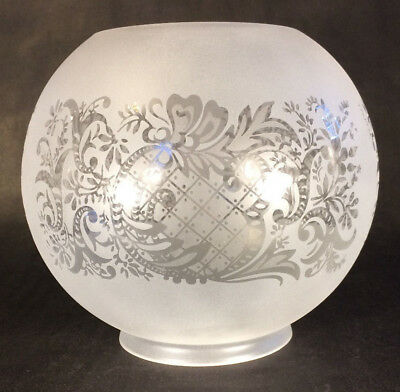 "7"" Satin Etched Bow & Scroll Floral Gas Oil Ball Lamp Shade- 4"" Fitter BS502i"