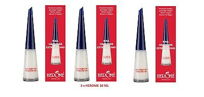 3 x HEROME - Nail Hardener Extra Strong 10 mL - UK STOCK