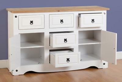 Antique Furniture Corona 2 Door 5 Drawer Sideboard in White/Distressed Waxed Pine400-405-021 Sideboards