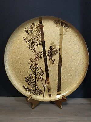 Vintage Ernest Sohn Creations Mid Century Large Gold Bamboo Glass Plate