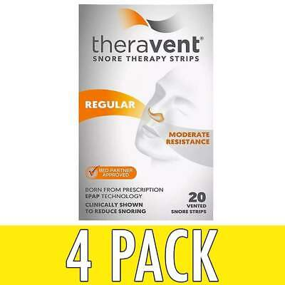 Theravent Snore Therapy Strips, Regular, 20 ea, 4 Pack
