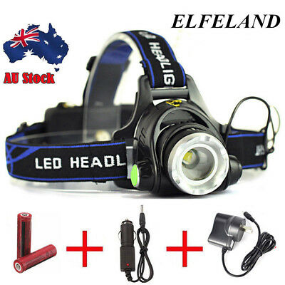 35000LM Elfeland LED Headlamp Rechargeable Headlight T6 Head Torch Light   Gift