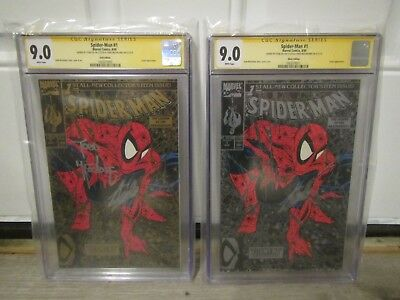 Spider-Man #1 9.0 CGC Gold and Silver Editions signed by Stan Lee and Todd McFa.