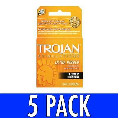 Trojan Increased Stimulation Condoms Ultra Ribbed Lubricated Latex 3