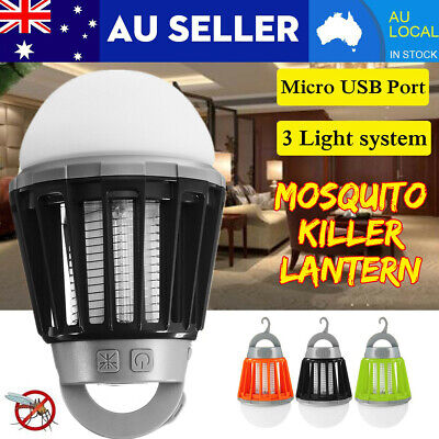 USB Mosquito Insect Killer Lamp Zapper Camping Lantern UV LED Bug Catcher