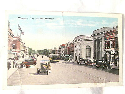 Vintage Original 1920 s  Photo Post Card Neenah Wisconsin Ave. Wis Colorized