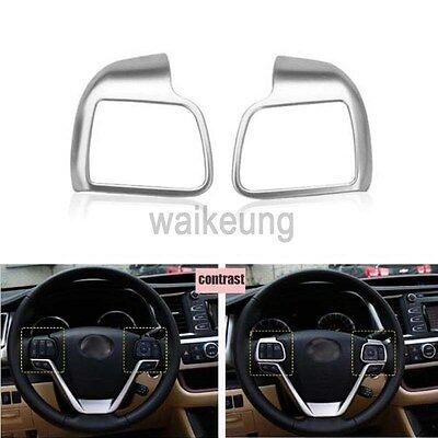 2Pcs Chrome Steering Wheel Cover Button Trim Fit For 2014-2017 Toyota Highlander