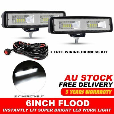 2 x 6INCH 60W CREE LED WORK LIGHT BAR Flood OFFROAD 4WD SUV ATV CAR LAMP + Wire