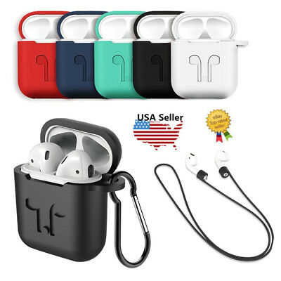 Case Cover For Apple AirPods +Case Strap Silicone Protective Charging Skin Sport