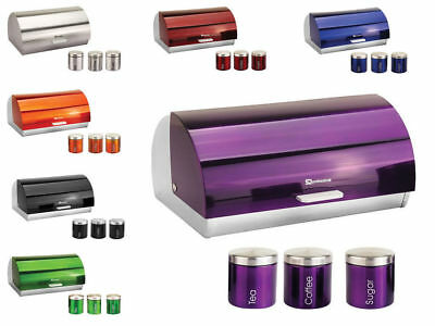 Bread Bin Box & Canister Matching Kitchen Stainless Steel Food Storage Set