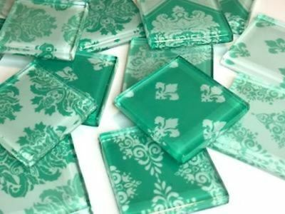 Turquoise Green Damask Patterned Glass Mosaic Tiles 2.5cm - Art Craft Supplies