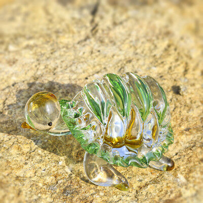 Glass Blown Figurine Handmade Crystal Sea Turtle Green Paperweight Home Decor