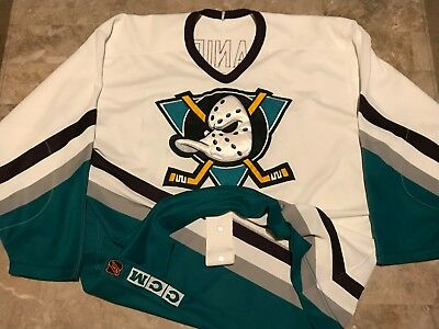 5942eecd3 VTG 90s Mighty Ducks NHL CCM Sewn Puffy Hockey Jersey Adult Size 52 Fight  Strap