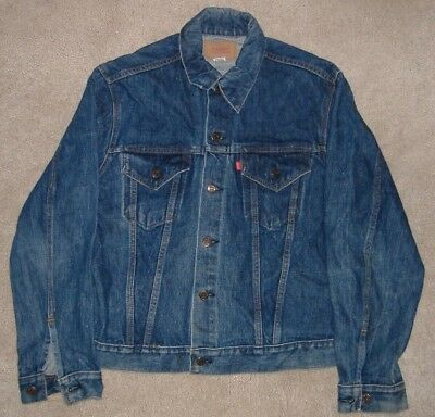 VTG 1970s LEVIS JEAN DARK BLUE DENIM JACKET VINTAGE