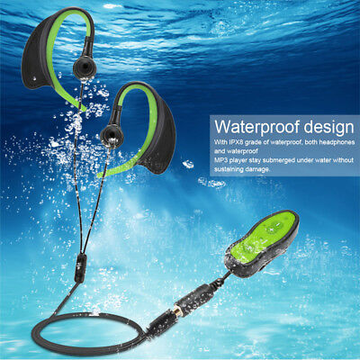 8GB MP3 Music Player Waterproof with Headphone Clip Design for Swimming Diving