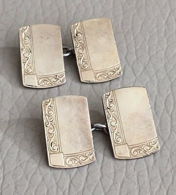 Cufflinks Vintage Art Deco 1930s Mens Gift Machined Gold On Silver Chain Linked