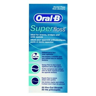New Oral-B Super Floss 50 Strands for Braces Bridges & Wide Spaces