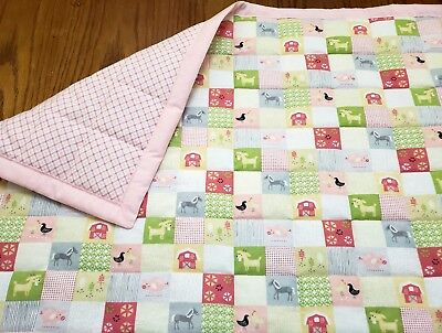 "HANDMADE""FARM LIFE"" PASTEL PINK FLANNEL GIRLS 35X43in QUILT/COMFORTER"