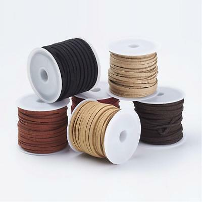 6 Rolls Faux Suede Lace Leather Cord 3mmx1.5mm, 5m/Roll