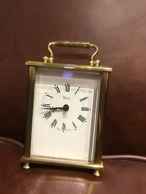 Vintage Northern Goldsmiths Gold Carriage Clock By Weiss Boxed Bevelled Glass
