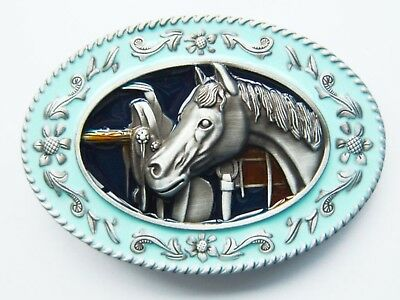 Coloured With Enamel Horse Head Oval Belt Buckle Cowboy Cowgirl Rodeo Western