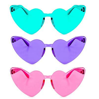 c57881eccc One Piece Heart Shaped Rimless Sunglasses Transparent Candy Color Eyewear