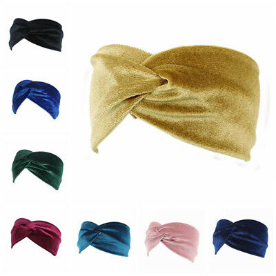 Womens Velvet Cross Twist Turban Headband Elastic Hair Band Headband Bandage US