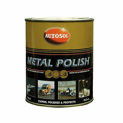 Autosol Metal Polish Paste 750ml Tin Solvol Chrome & Aluminium Cleaner + GLOVES
