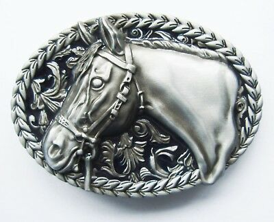 Horse Head Silver Color & Black Oval Belt Buckle Cowboy Cowgirl Rodeo Western