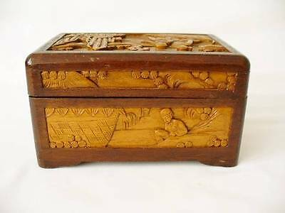 Vintage Chinese Wooden Box - Figural Carving In Deep Relief