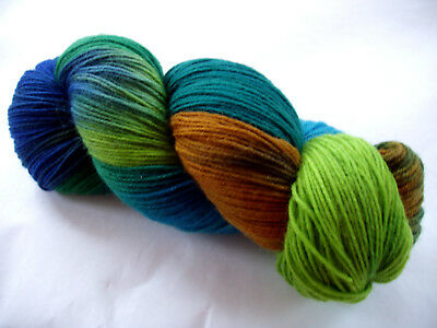 Hand painted sock yarn soft merino nylon superwash dyed green blue teal 467yds