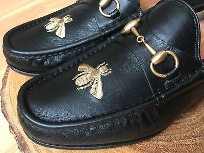feb0607508a GUCCI Bee Horsebit Loafer Men's Black Leather Shoes Size 9.5 UK/ 10,10.5 US