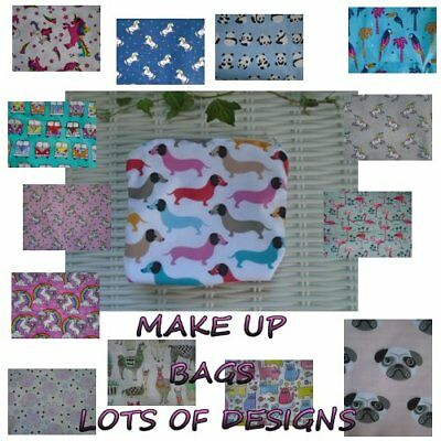 Make Up Bags Or Pencil Cases 20 Cm X 18 Cm Pugs Unicorns Sausage Dog Elephant