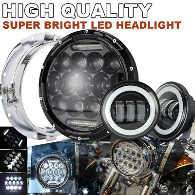 "7"" LED Headlight Passing light Fit Kawasaki VN Vulcan Classic Nomad Drifter 1500"