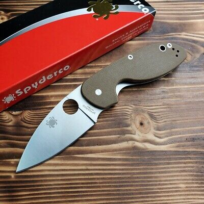 Spyderco Efficient Brown G10 Handle Satin Plain Edge Linerlock Knife C216GPBN