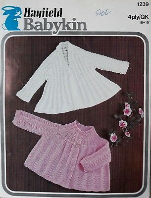 8af1163ab BABY MATINEE COATS Sirdar 3211 vintage knitting pattern 4 ply yarn ...