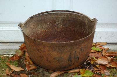 "Antique Vintage Cast Iron Large 18"" D 3-Footed Fireplace Cooking Cook Pot"