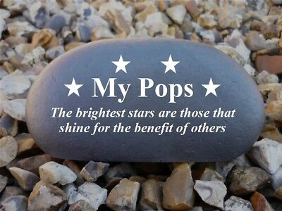 Memorial Pebble (Stone effect) Personalised - Weatherproof - Medium - Stars