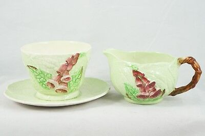Carlton Ware Foxglove Green Creamer Saucer and Sugar Bowl c 1935-1951