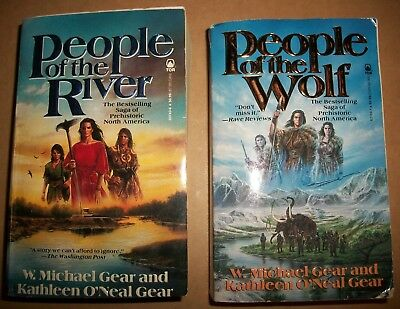People of the River Wolf 1&4 by Kathleen W Michael O'Neal Gear paperback lot 2VG